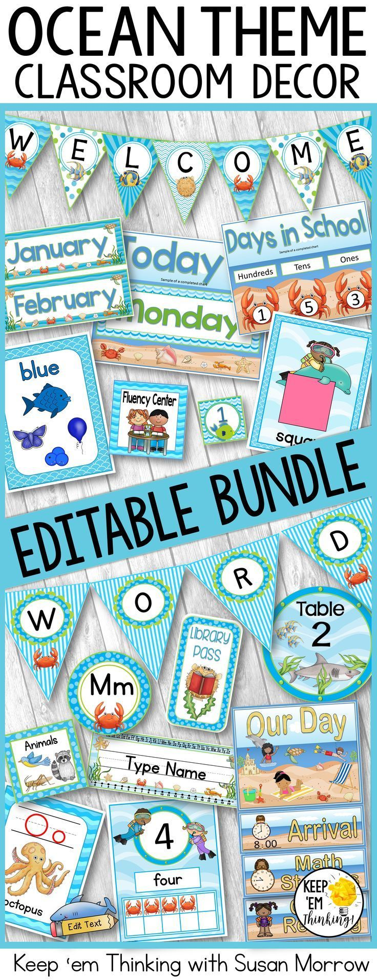 Ocean Theme Classroom Decor Bundle- Editable! Word Wall, Banners, Charts & More #classroomdecor