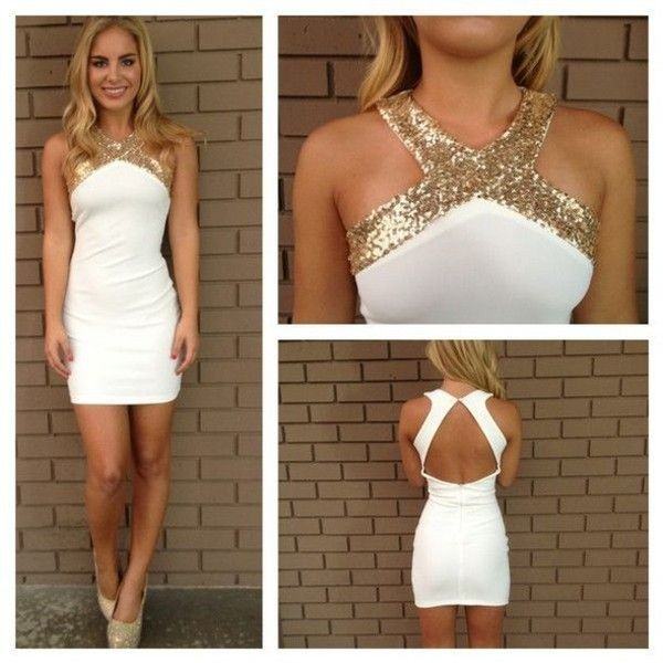 Dress: homecoming gold white bodycon strappy zipup triangle ...