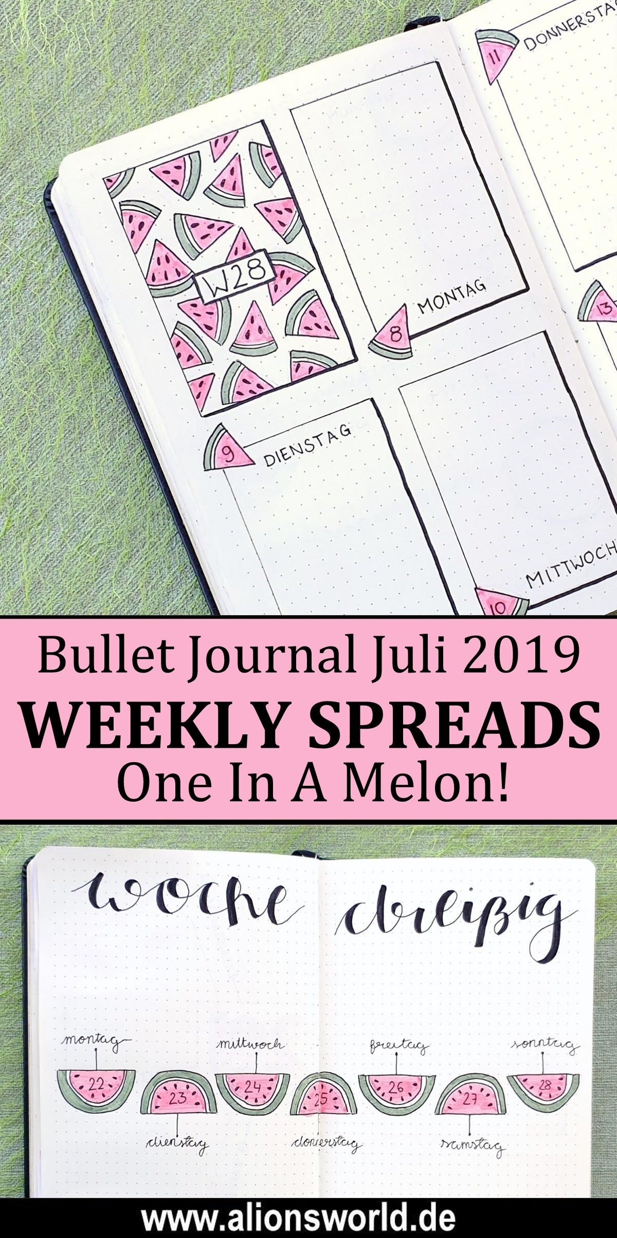 Bullet Journal | Juli 2019 – You're One In A Melon! + Juni 2019 Flipthrough