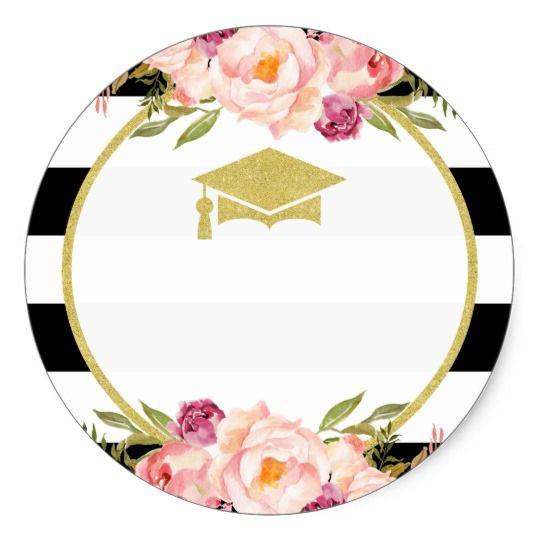 Photo of The Future is Bright | Floral Glam Graduate Favor Classic Round Sticker | Zazzle.com