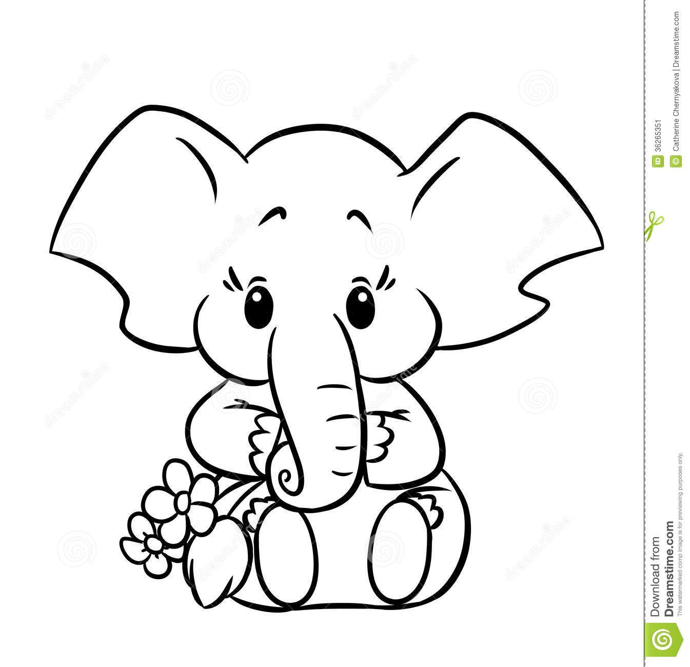 Little elephant  Elephant coloring page, Baby elephant drawing