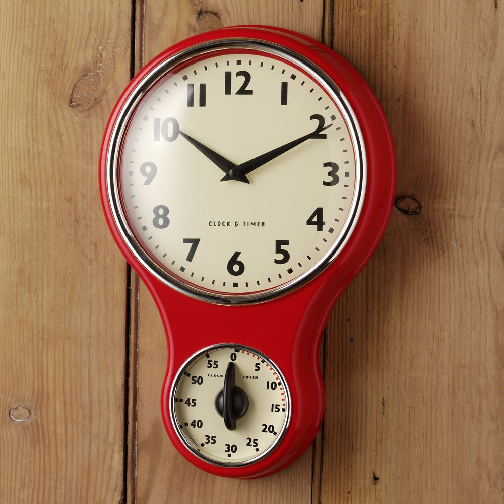 Procook Retro Kitchen Clock With Timer Wall Clocks From