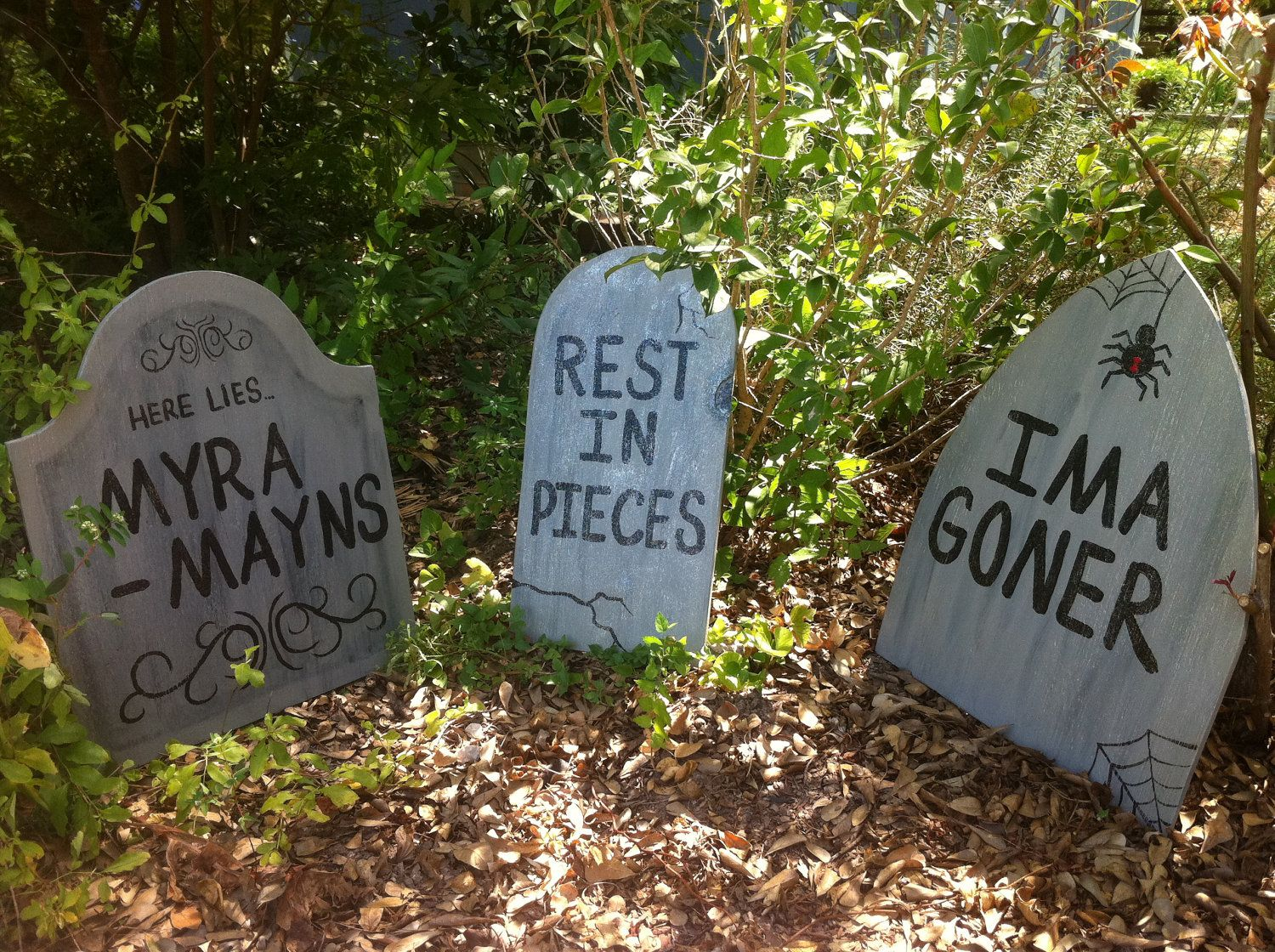 Halloween Tombstone Yard Art Decorations Set of 6 | holiday wood ...