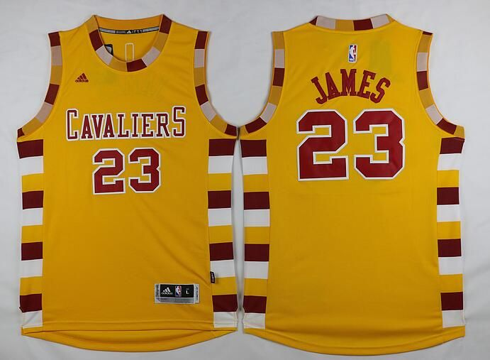 b9cca32adc0 Men's Cleveland Cavaliers #23 LeBron James Revolution 30 Swingman 2015-16  Retro Gold Jersey