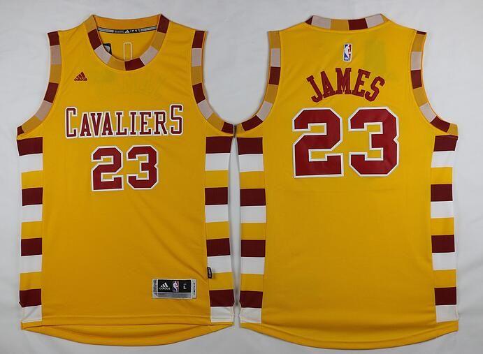 baf152c977f Men s Cleveland Cavaliers  23 LeBron James Revolution 30 Swingman 2015-16  Retro Gold Jersey