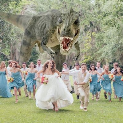 Best Wedding Photo Ever: T-Rex Chasing After Bridal Party