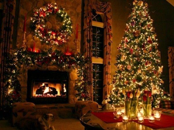 Weihnachtsdeko Wohnzimmer ~ Prachtvoller weihnachtskamin weihnachtsdeko grün rot weihnachten