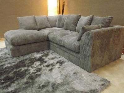 Dylan Jumbo Cord Light Grey Fabric Corner Group Sofa Filling My