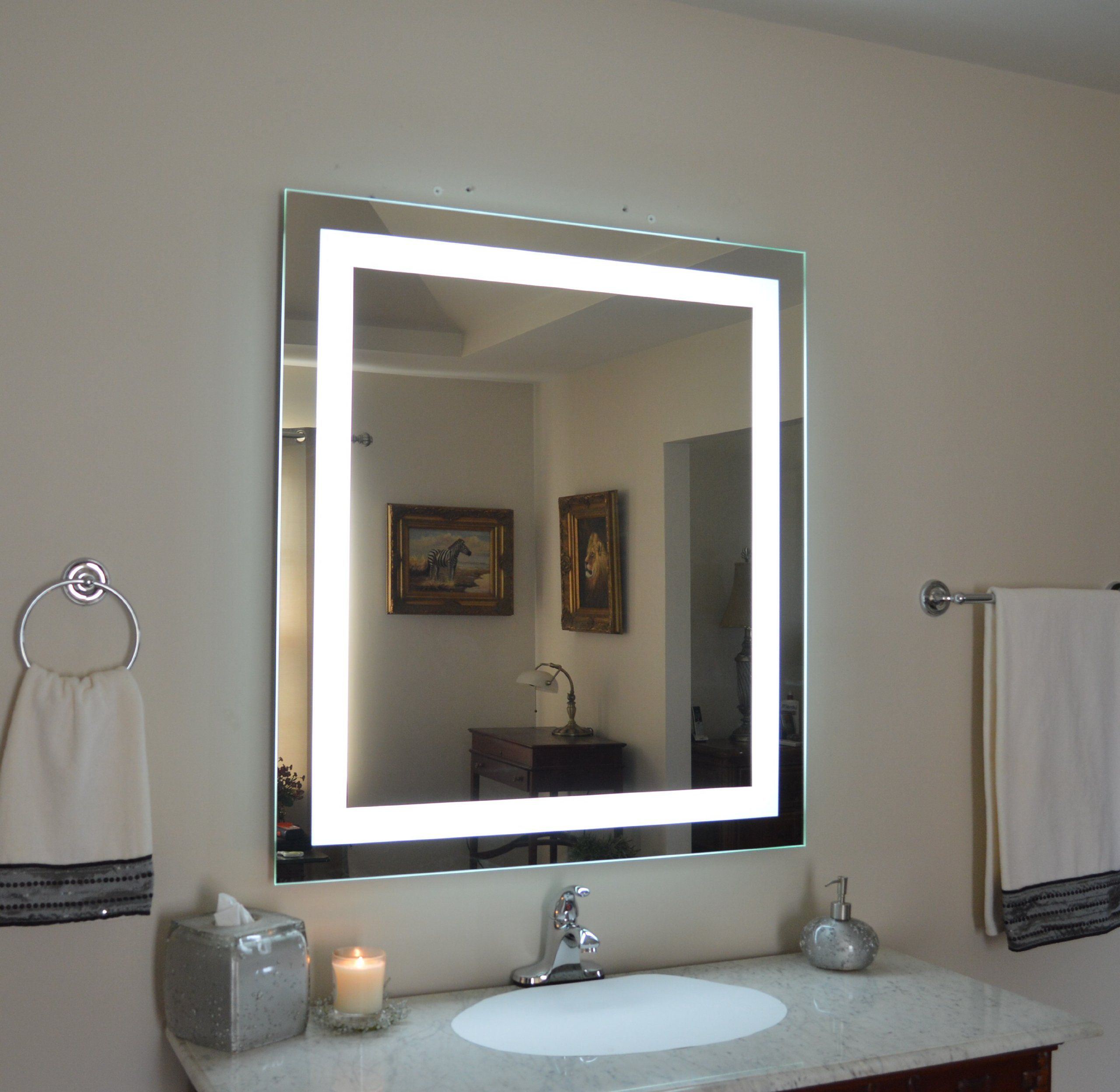 Wall Mounted Lighted Vanity Mirror Led Mam83648 Commercial Grade