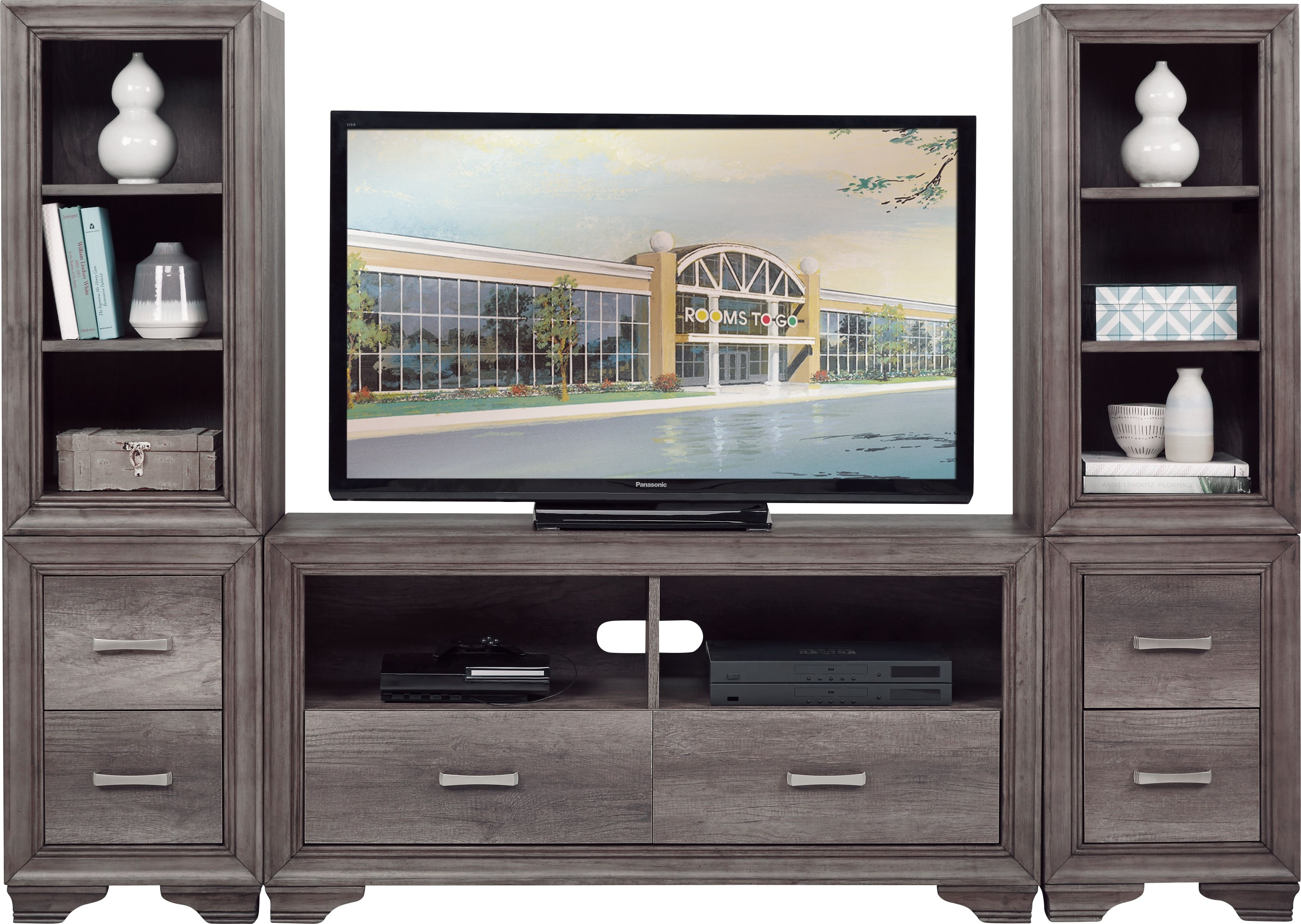 Marlow Gray 3 Pc Wall Unit Wall Unit The Unit Rooms To Go
