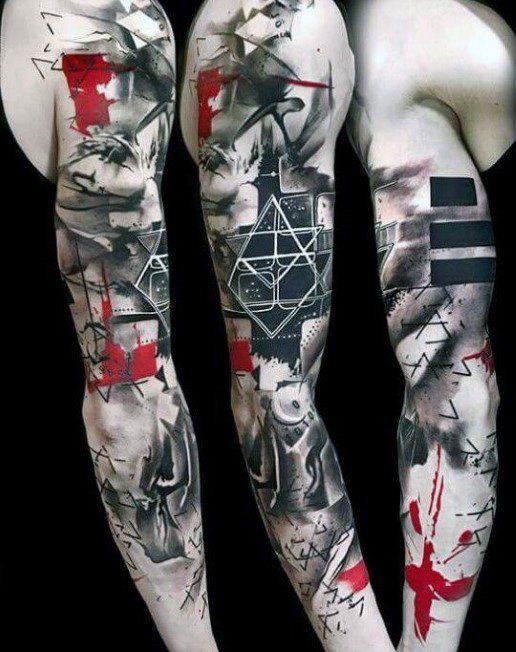 60 rote und schwarze Tattoos für Männer – Manly Design-Ideen – Mann Stil | Tattoo