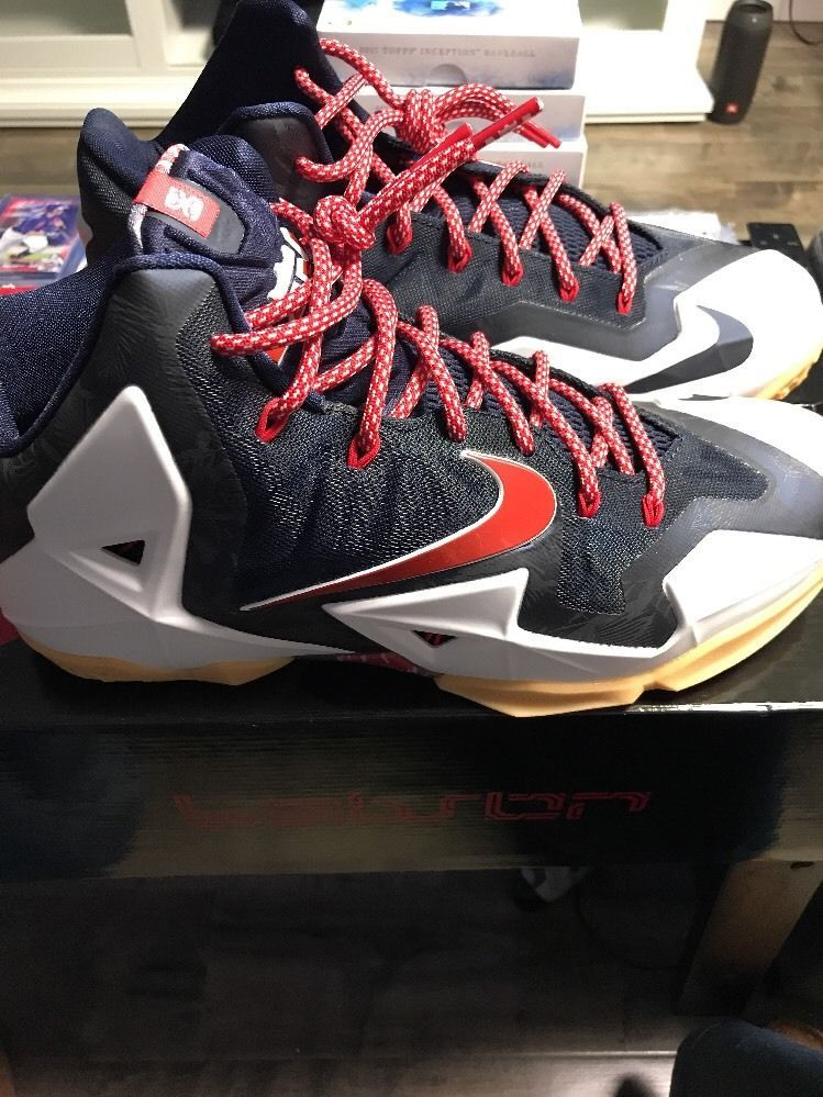 72b4bc114df7 Nike Lebron XI 11 White Red-Obsdian-Platinum Independence Day 616175 ...