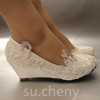 Su Cheny White Light Ivory Lace Wedding Shoes Flat Heel Wedges Bridal Size 5 13 In 2021 Wedding Shoes Lace Wedding Dress Shoes Wedge Wedding Shoes