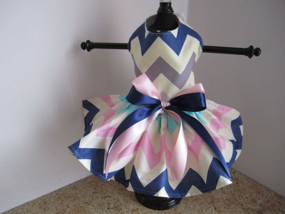 Dog Dress XS Navy Pink Gray Chewron By by NinasCoutureCloset