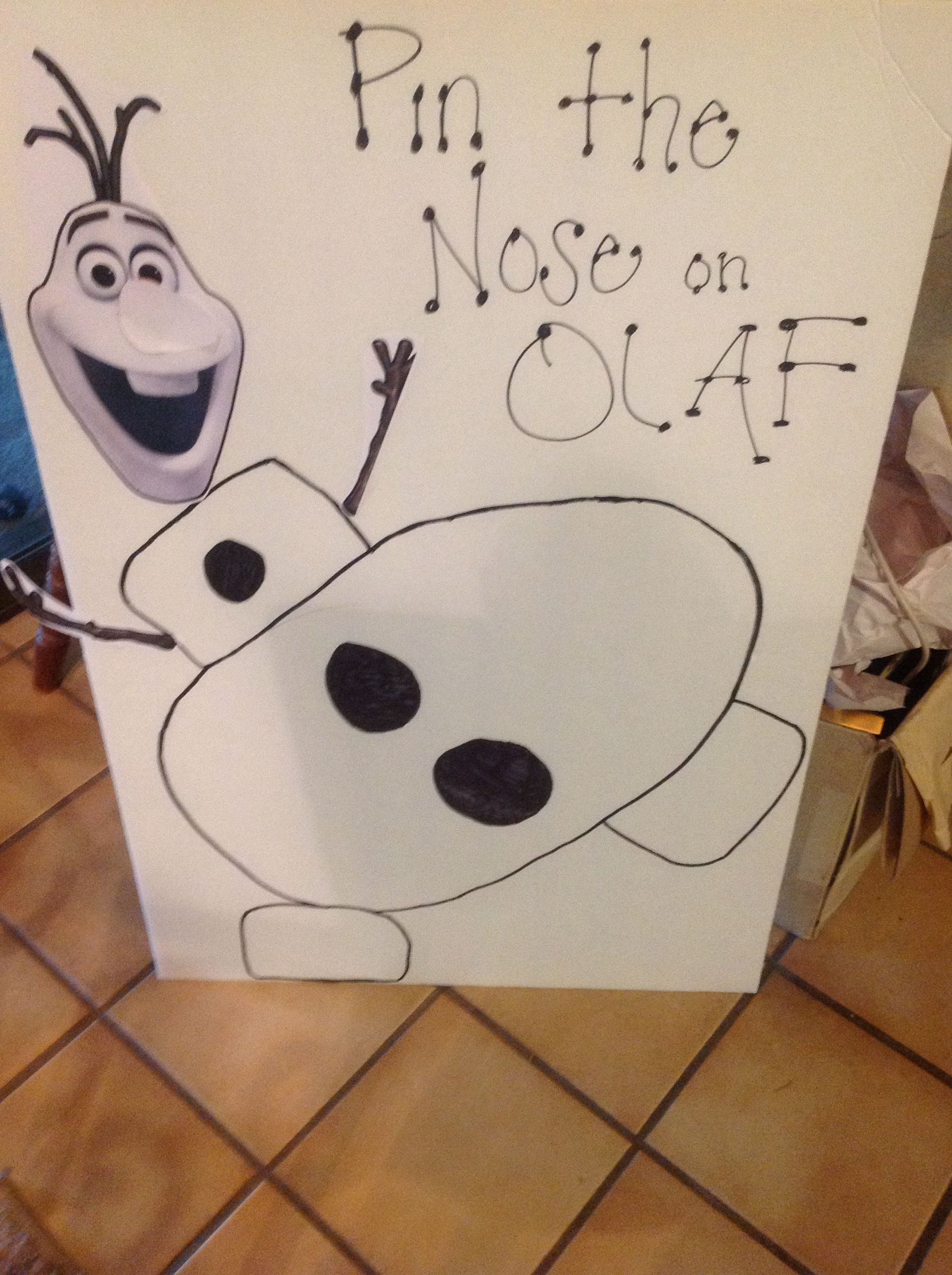 Made an easy Pin the Nose on Olaf! /Olaf in Summer Party