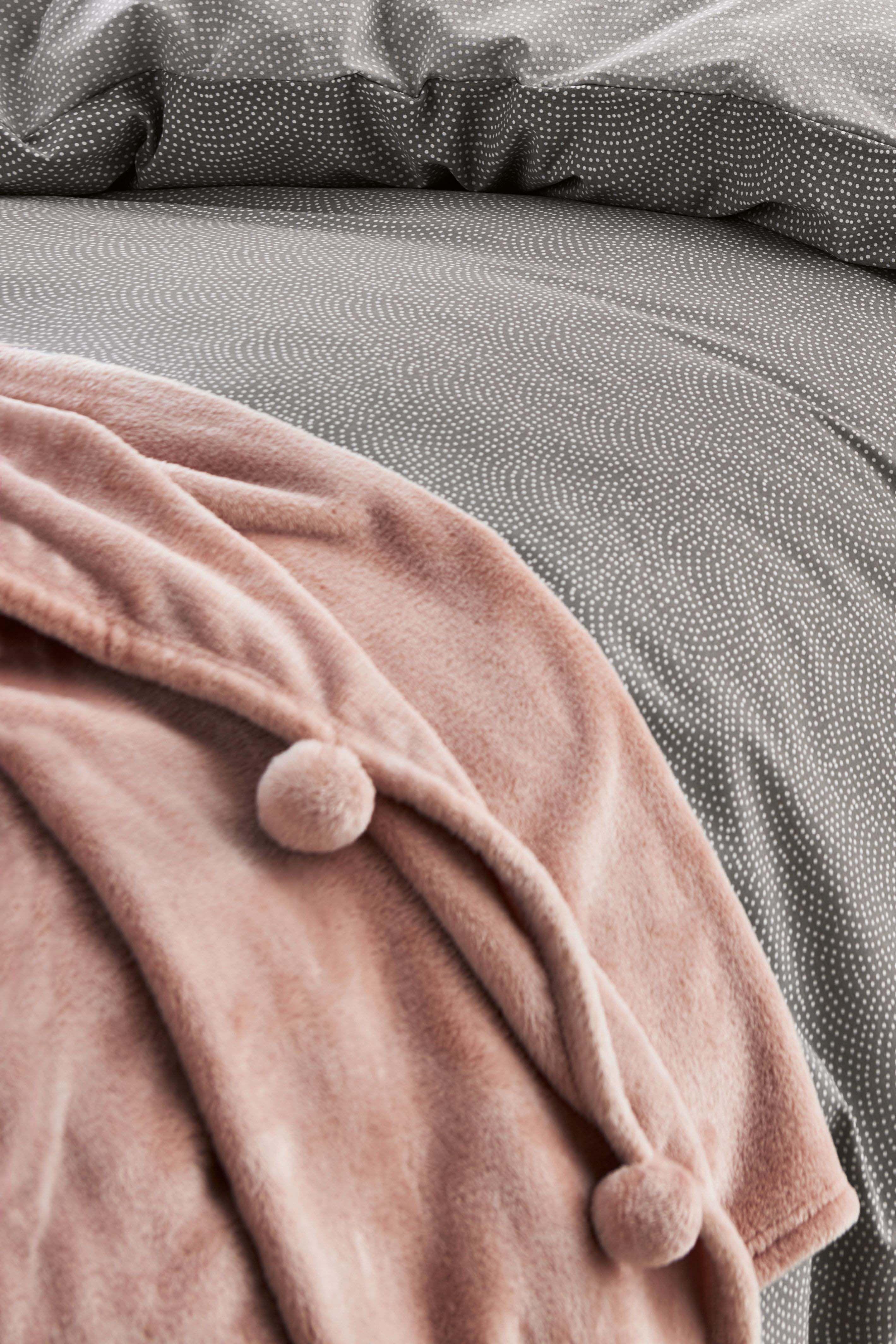 Pom Pom Fleece Throw in 2020 Fleece throw, Pink throws