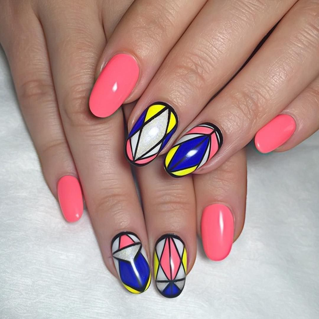 Pink Gloss With Yellow Blue Black And White Hand Drawn Contemporary