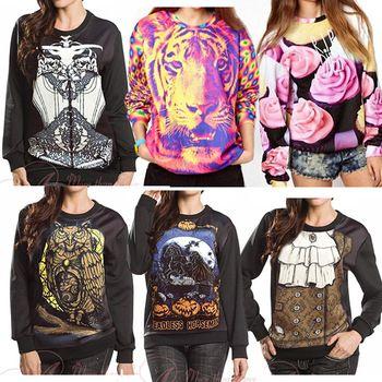 2015 Autumn Winter Women Men 3D Hoodies Pullovers Sweatshirts Sudaderas Galaxy Harajuku Top Print Knight Tiger Eagle Black Milk