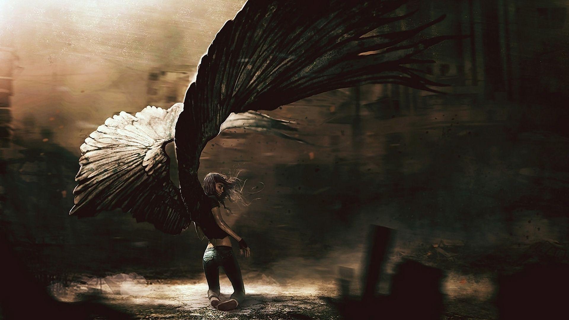 Download Wallpaper 1920x1080 Angel Girl Fallen Wings Full Hd 1080p Hd Background Fantasy Artwork Arte De Anjo Anjo Caido