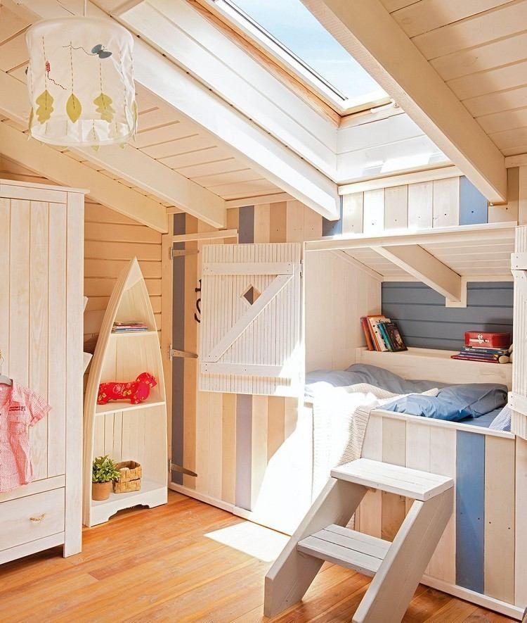 meuble sous comble  chambre enfant avec lit superpos en bois massif et lambris bois massif