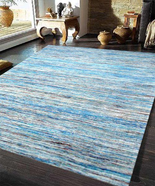 Hademade Sari Silk Blue Rugs Express Online Rug Australia