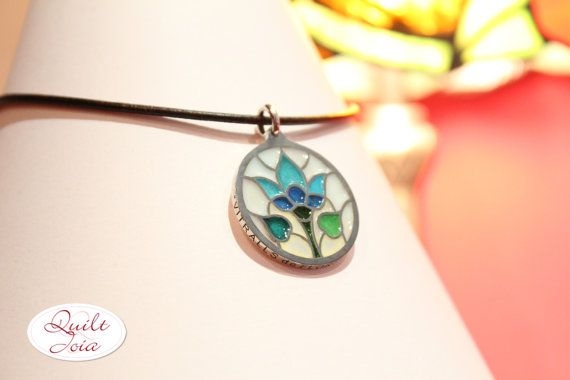 Sterling silver and enamel flower pendant from by Quiltjoia, €85.00