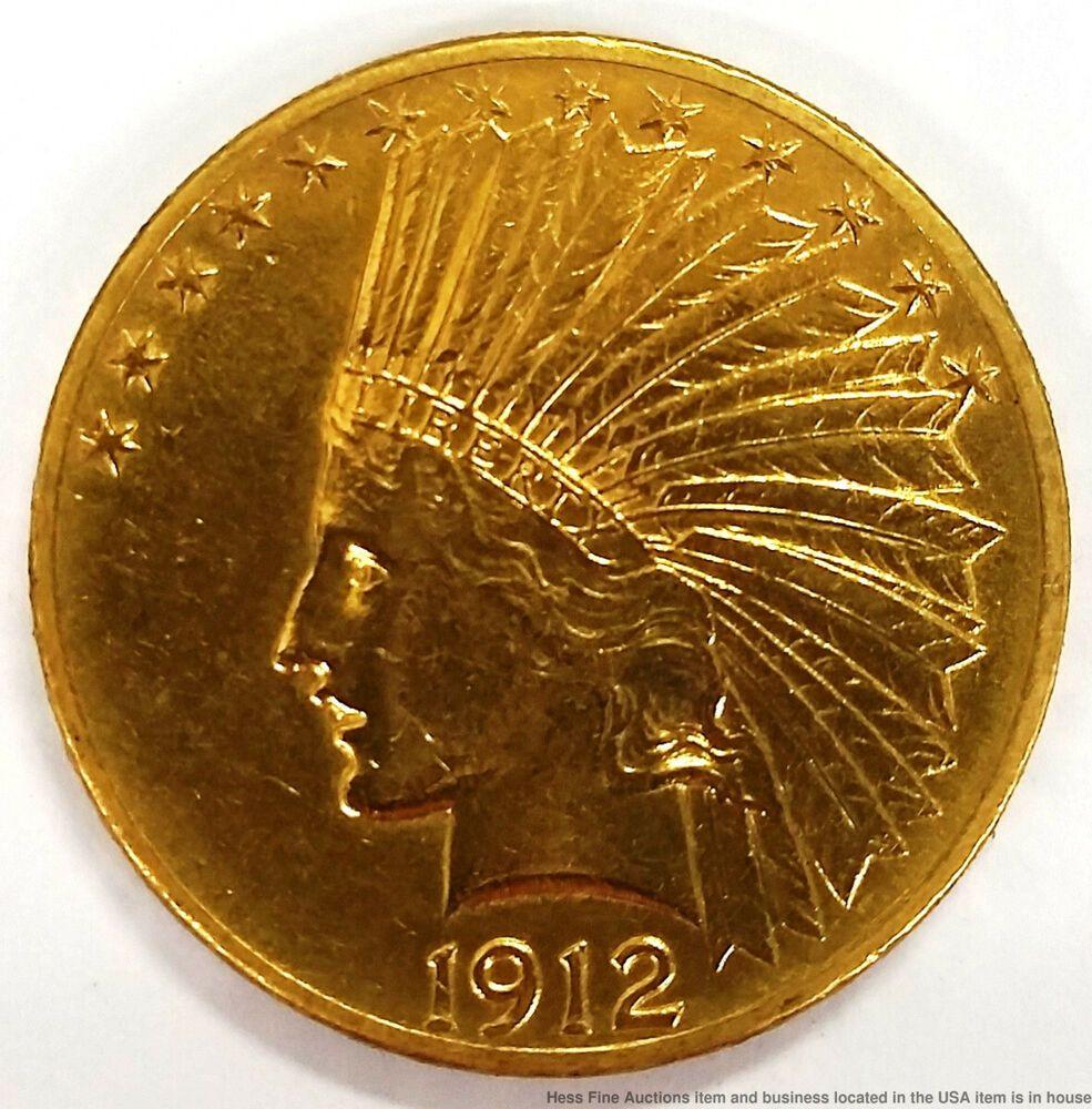 1912 10 Ten Dollar Indian Head Us Mint American Gold Coin Gold Coins Indian Head Coins