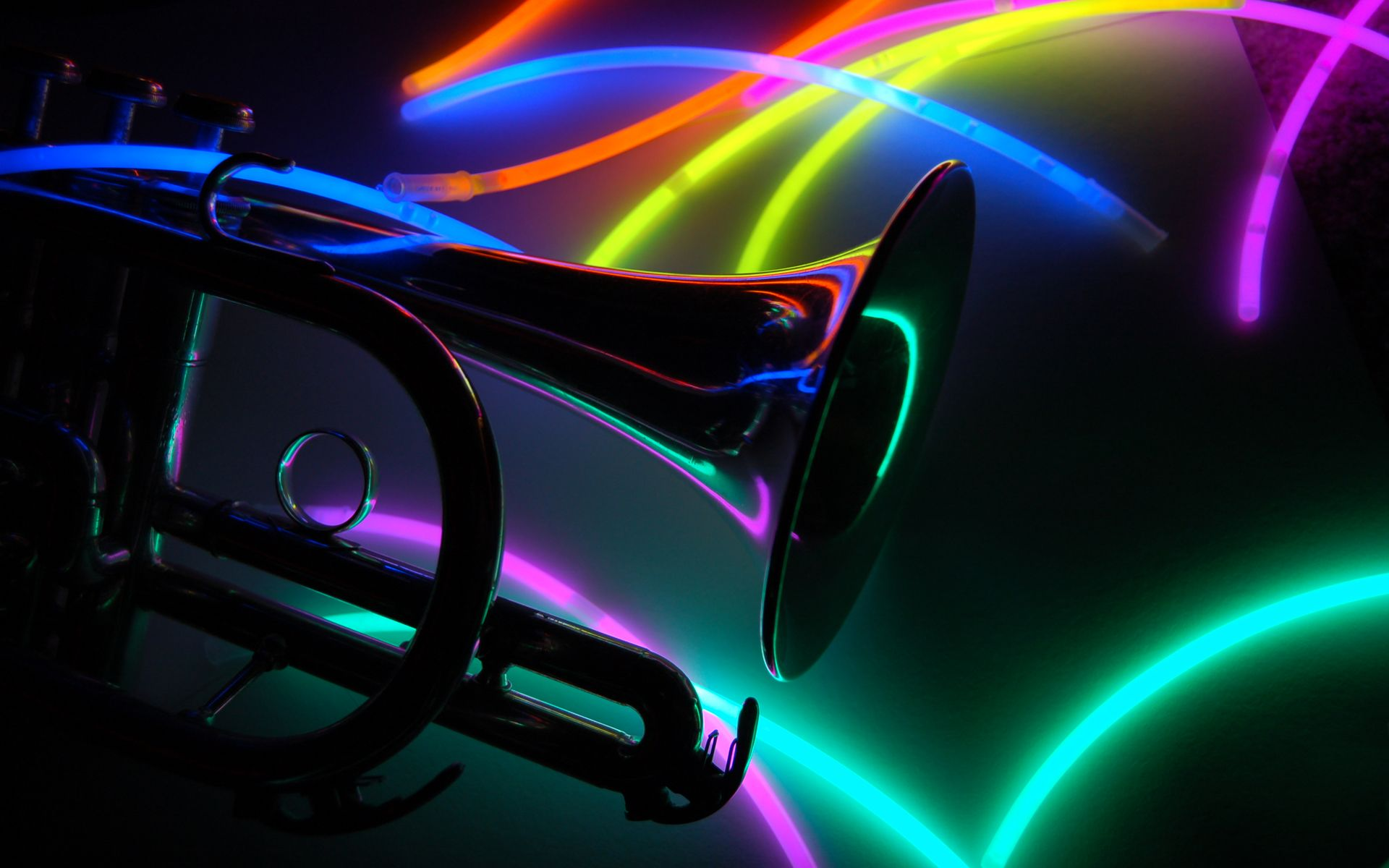 Neon Music Notes Background Neon Trumpet Artwork