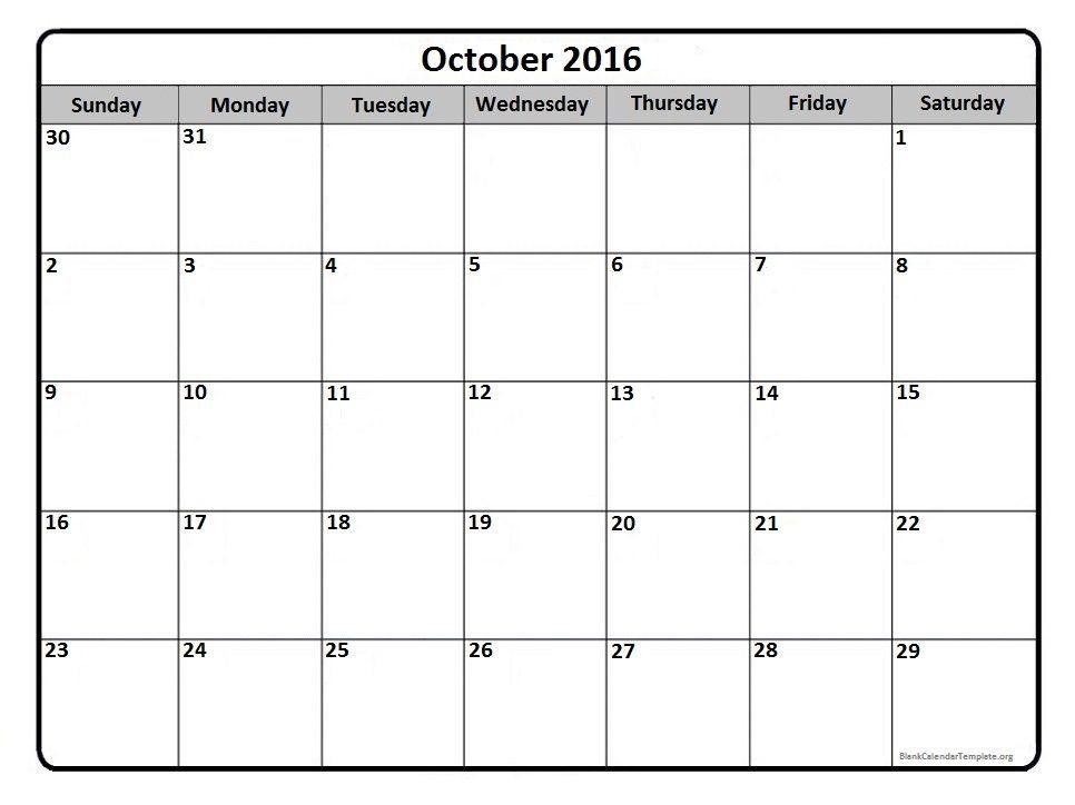 Calendar 2016 October 2016 October Calendar Pinterest October