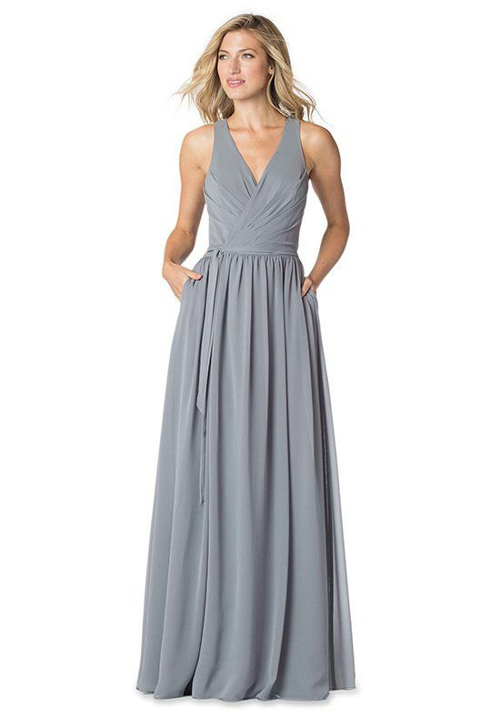 33b7d233dcd Gray Chiffon Wrap dress with Pleated Bodice