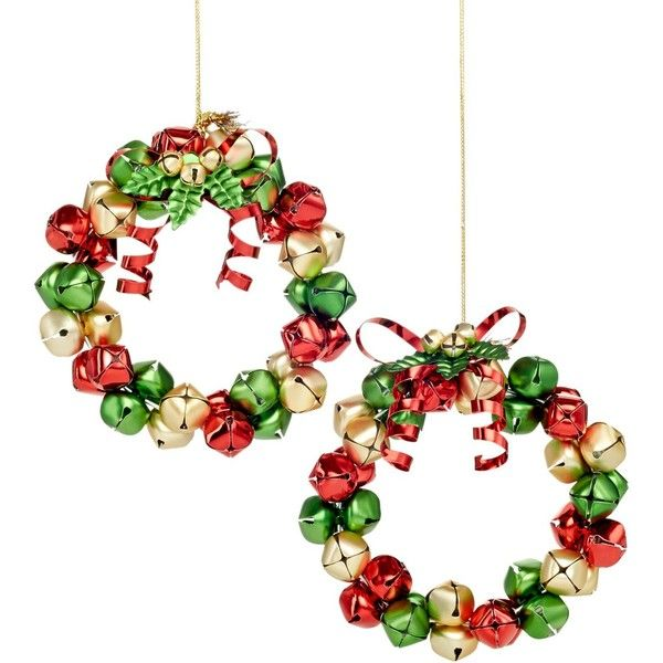 Holiday Lane Set of 2 Jingle Bell Wreath Ornaments (15 CAD) found on