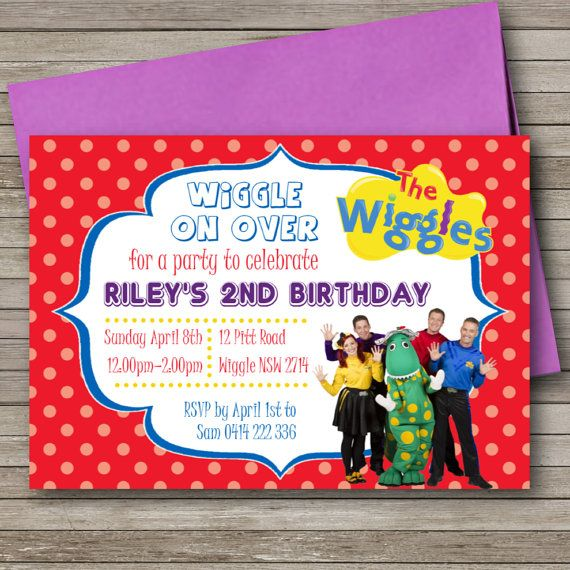 The Wiggles Birthday Party Invitation Any Age Kids Childs Printable File Diy Invitations Design 069