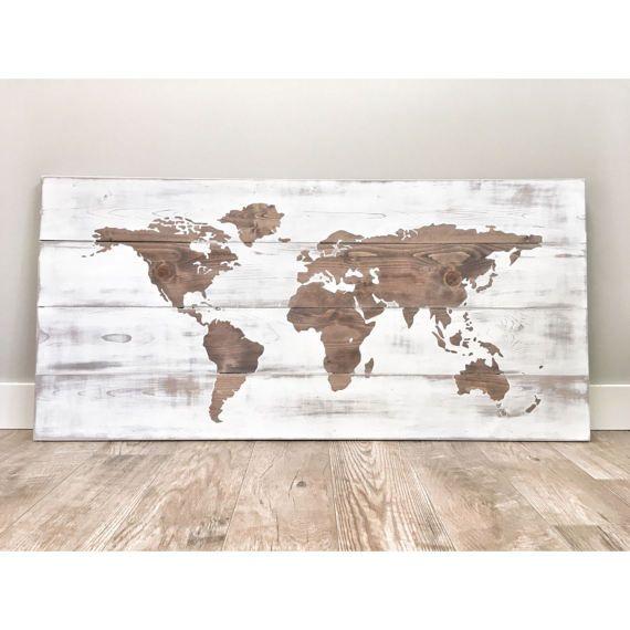 Transitional Nursery With Rustic Wood Wall: Rustic Wood World Map Rustic Decor Farmhouse Decor Rustic