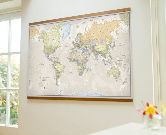 Classic world map medium by mapsinternationalusa on etsy world are you interested in our world map wooden hanging bars with our vintage map hanging dowels you need look no further gumiabroncs Images