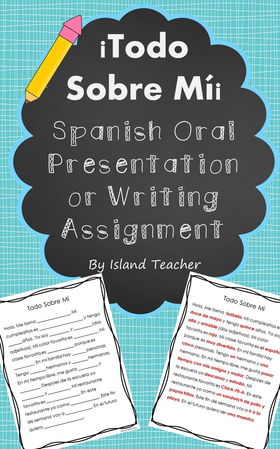 Spanish All About Me Speaking Presentation or Writing Assignment ...