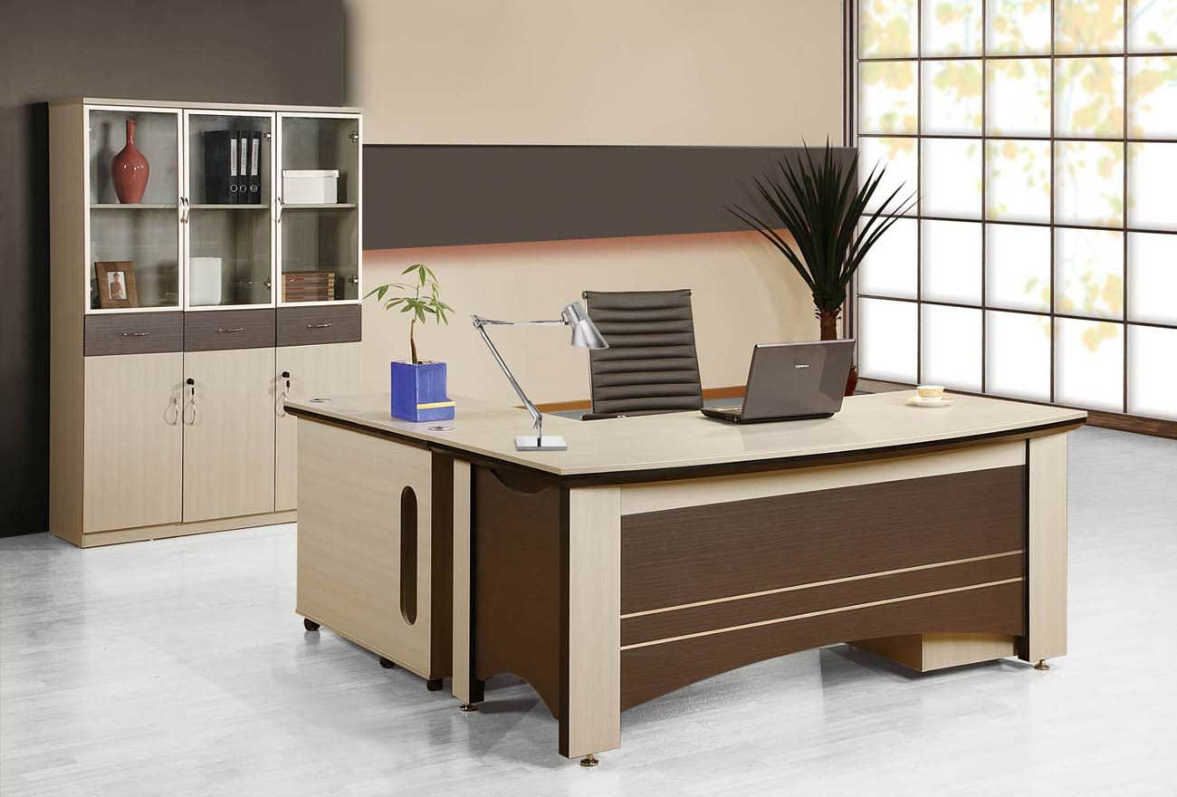 Luxury Brown Finish Home Office Laptop Desk Office Table Design Office Furniture Design Modern Home Office Furniture