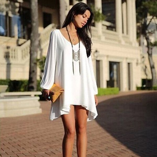 eb5e47819995 this white chiffon relaxed mini loose fit dress is bound to bring you  extraordinary cool and fresh feeling this summer.