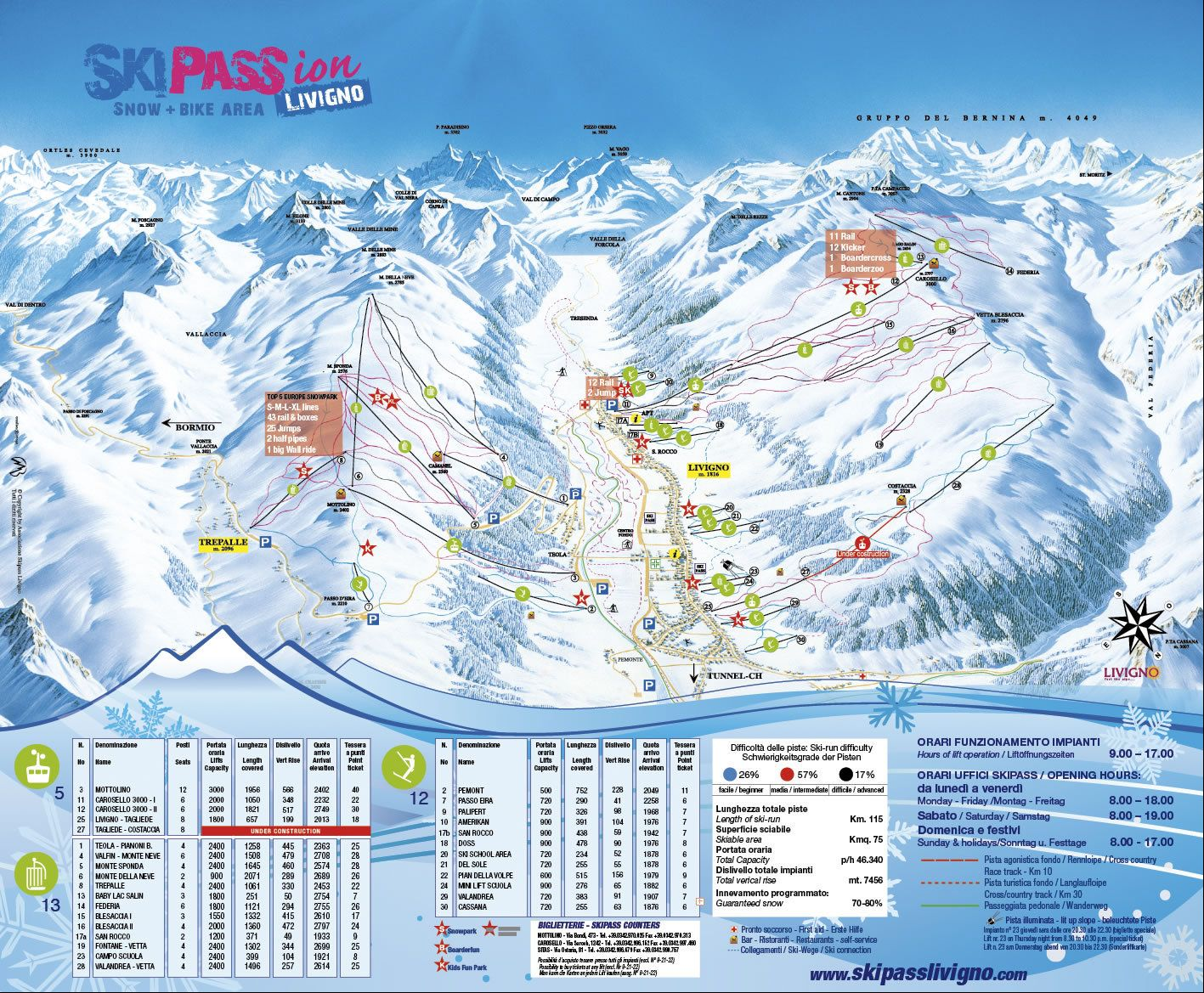 Livigno Piste Map Piste Maps 1516 Pinterest