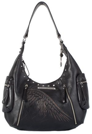 Harley Davidson Womens Hobo Punk Black Leather Purse