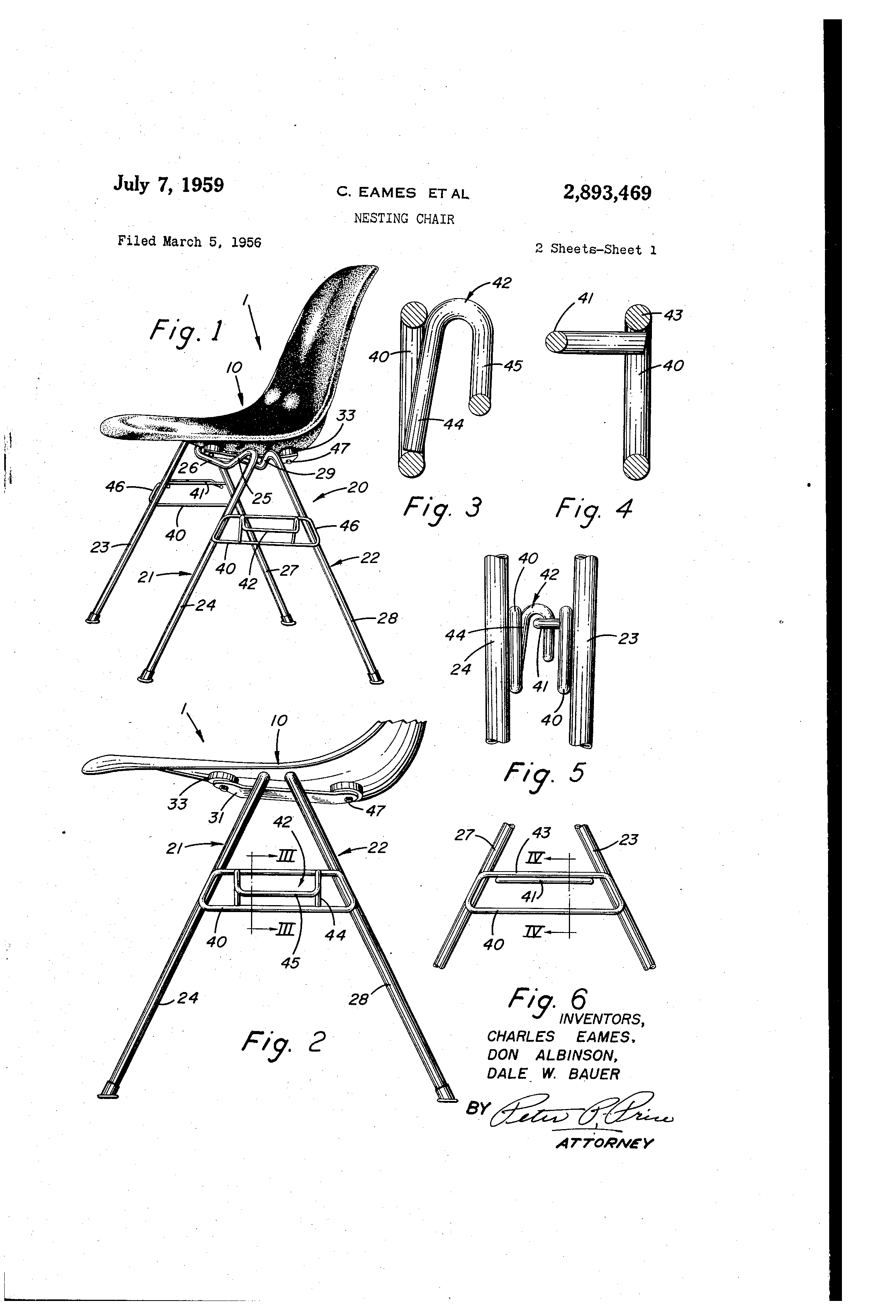 Chair Design Patent Rocking For Baby Boy Us2893469 Nesting Google Patents Sketch