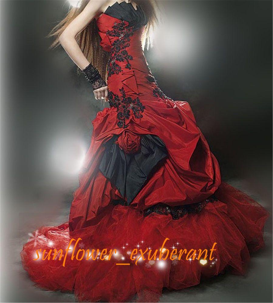 Mermaid custom wedding dress bridal gown strapless redublack formal