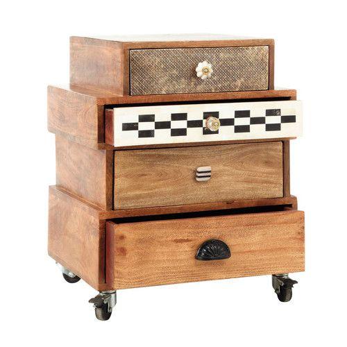 Cabinet de rangement à roulettes en manguier L 50 cm ...