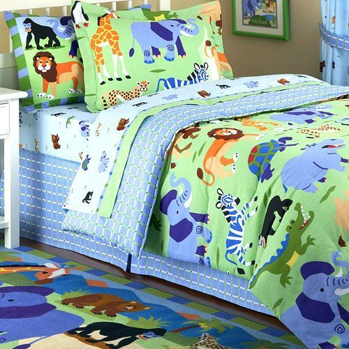 jungle safari kids bedding twin fullqueen comforters jungle theme blue green bedding by