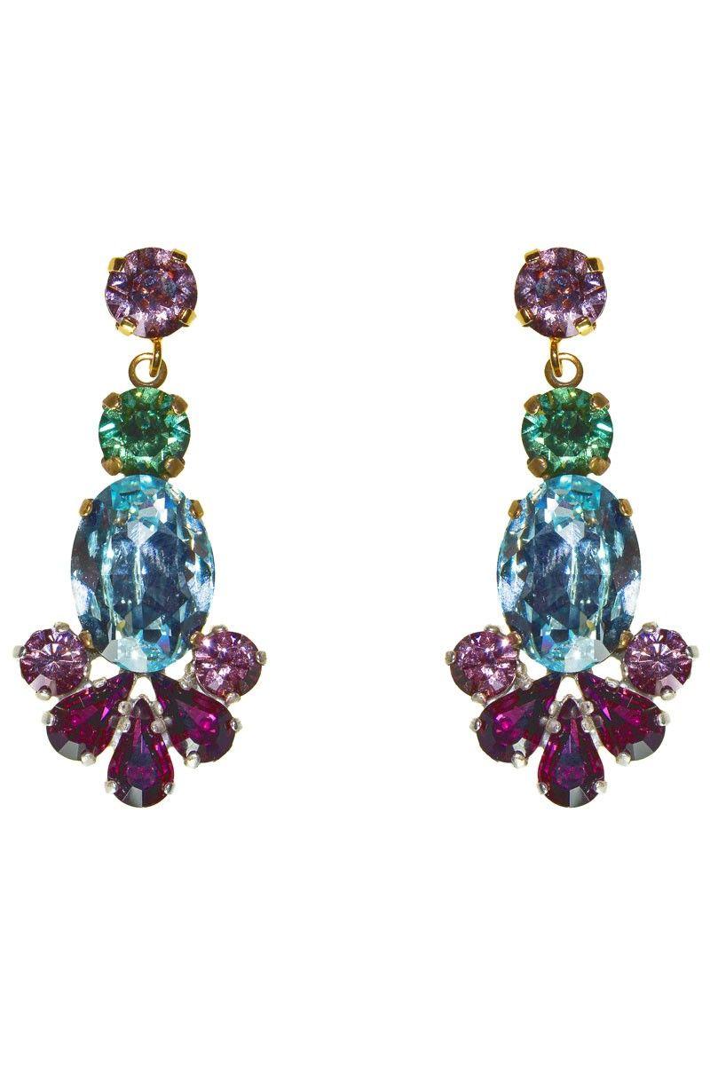 f7815c256854 pendientes con cristales de swarovski azul verde y morado de laton dorado  para deslumbrar invitada perfecta evento fiesta boda apparentia