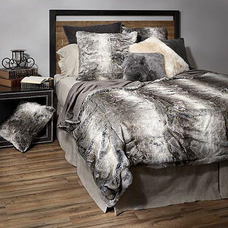 Grey Wolf Faux Fur Bed Blanket At Arhaus Faux Fur Bedding Comfortable Bedroom Gray Throw Blanket Beds