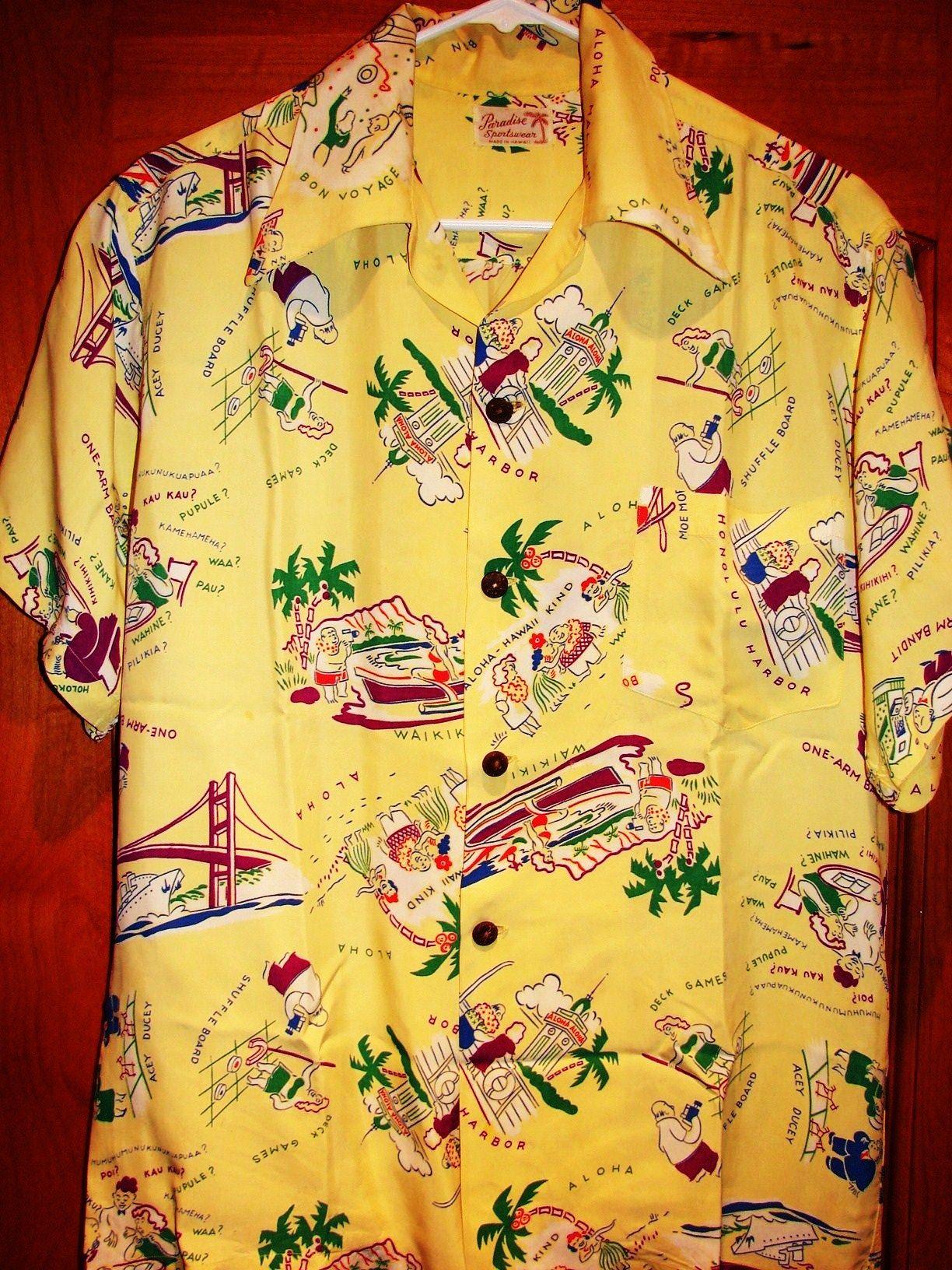 47755be7 Pacific Sportswear - 40s Malihini Rayon Vintage Hawaiian Shirt -  TheHanaShirtCo