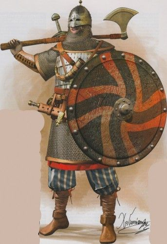 Varangian Guard with typical kit, from an Osprey book