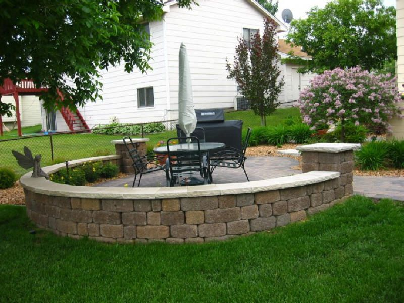 Brick Patio Wall Designs gabion brick walls can be carefully hand stacked to give a unique wall and by using reclaimed brick from around your garden you can reduce the price of Small Brick Patio Off Deck Area Brick Paver Patio And Sitting Wall Off Wood Deck