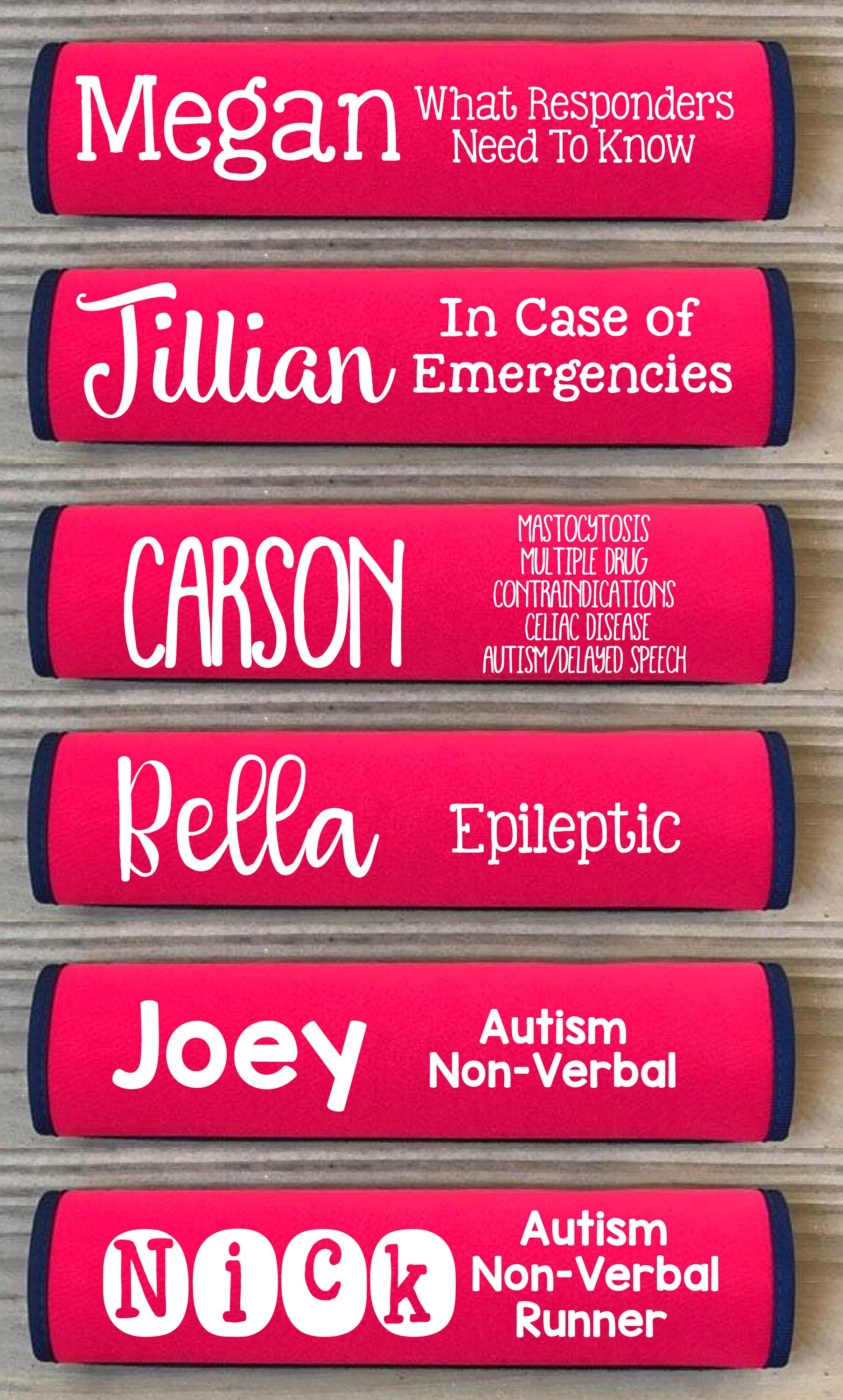 Autism awareness seatbelt or backpack identification sign