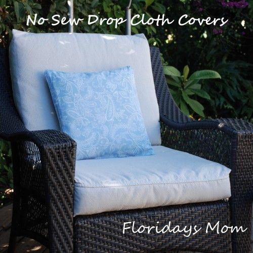 No Sew Drop Cloth Cushion Covers Diy Patio Cushions Diy Outdoor